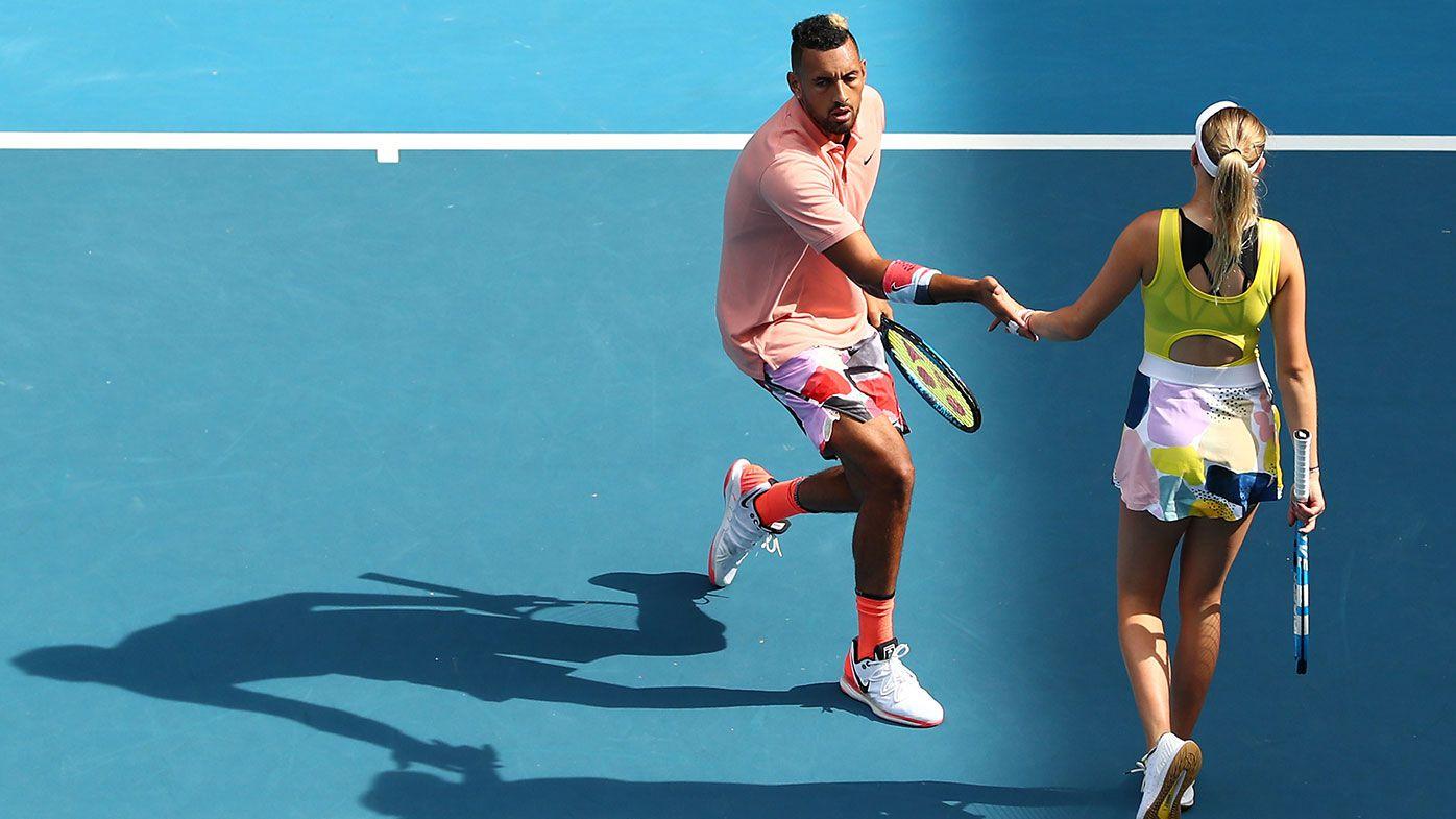 Nick Kyrgios backs up Nadal blockbuster in mixed doubles alongside teen star