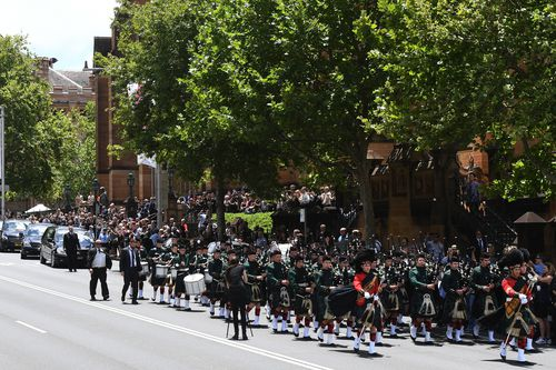 The sombre scene outside St Mary's Church today. Picture: AAP