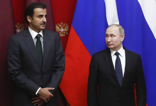 Russian President Vladimir Putin is yet to respond to the moves by Australia and other nations. Mr Putin is pictured here with Qatar Sheikh Tamim bin Hamad al-Thani. (AAP)