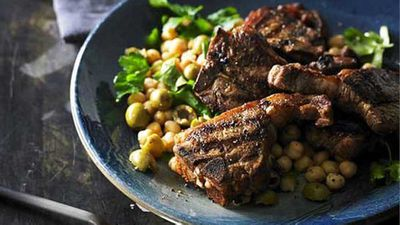 "Recipe:&nbsp;<a href=""http://kitchen.nine.com.au/2016/05/05/10/54/smoked-paprika-lamb-loin-chops-with-chick-pea-and-green-olive-salad"" target=""_top"">Smoked paprika lamb loin chops with chick pea and green olive salad</a>"