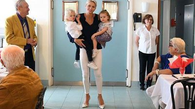 <p>Princess Charlene of Monaco with her twins</p>