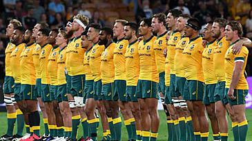 Wallabies standing for nationl anthems (Getty)