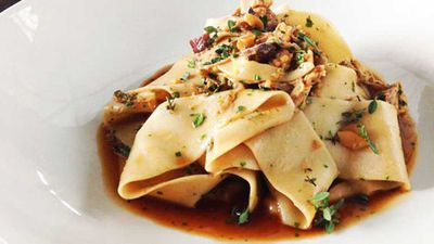 "Recipe:&nbsp;<a href=""http://kitchen.nine.com.au/2016/05/20/10/17/cafe-sydneys-chestnut-pappardelle-with-pork-ragu"" target=""_top"">Cafe Sydney's chestnut pappardelle with pork ragu</a>"