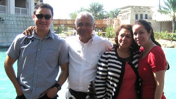 Joseph Sarlak, second from left, pictured with family members. Joseph's family are pleading with the Australian government to intervene and help secure his freedom from a Qatar jail.