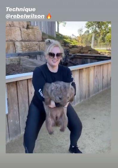 Rebel Wilson, trainer, Jono Castano, visit zoo, squats wombat