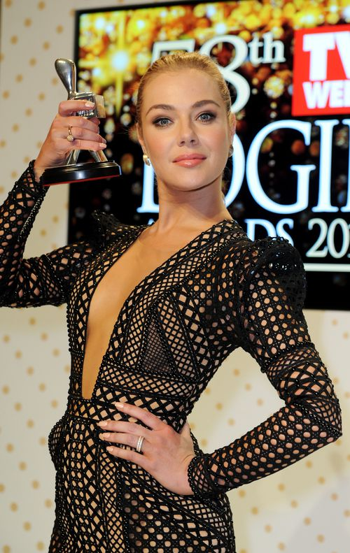 Best actor winner Jessica Marais with her award during the 2016 Logie Awards. Picture: AAP