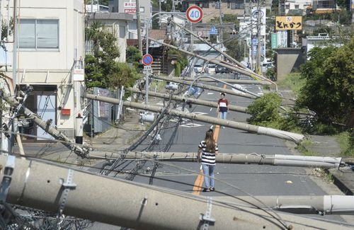 Utility poles collapse due to the typhoon Jebi in Sennan City, Osaka Prefecture on September 5, 2018