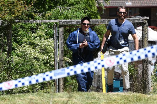 Police are excavating under Peisley's Katoomba home today.