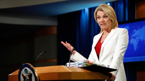 State Department spokeswoman Heather Nauert speaks during a briefing in August 2017. (AP)
