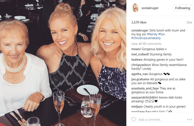 Network Nine personality Sonia Kruger has the beauty gene (check out her mother and sister in this sweet snap). She can wear full TV makeup or none at all and still look incredible.