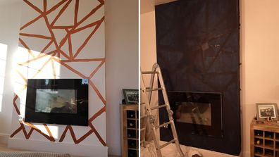 Woman creates stunning feature wall after failing to find wallpaper