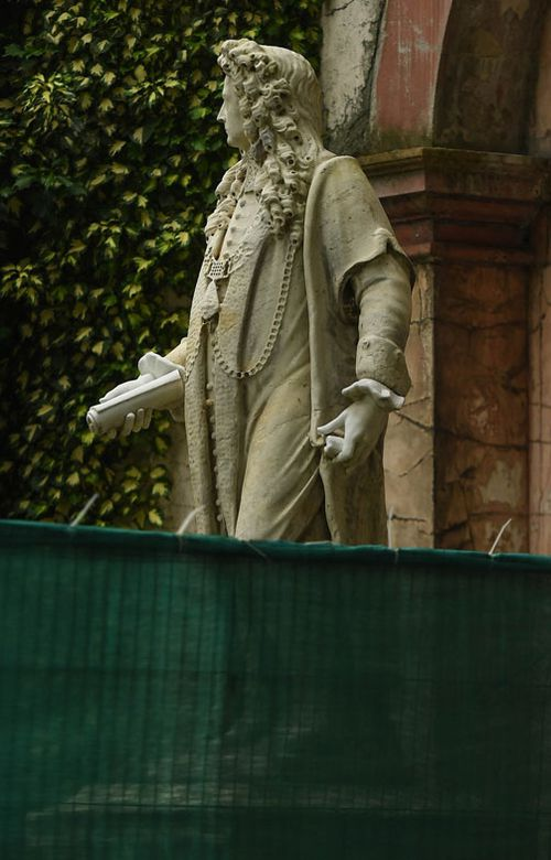 Fencing is seen around the statue of Sir Robert Clayton at St Thomas' Hospital in anticipation of protests today on June 12, 2020 in London, England