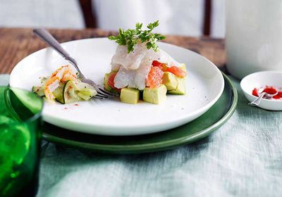 "Recipe: <a href=""http://kitchen.nine.com.au/2016/05/17/13/18/mackerel-ceviche-with-avocado-ruby-grapefruit-and-spanner-crab"" target=""_top"">Mackerel ceviche with avocado, ruby grapefruit and spanner crab</a>"