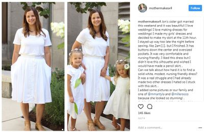 All white. A rare pic of Stephanie with her girls. In outfits created by mama of course.