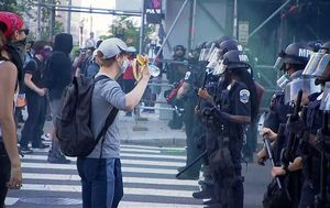 Dramatic scenes unfold blocks from the White House in Washington DC as peaceful protest turn violent