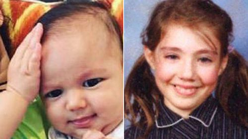 Two of the youngest alleged victims: Three-month-old Zachary Bryant and schoolgirl Thalia Hakin. (Supplied)