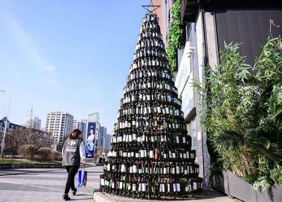 A wine bottle Christmas tree in China