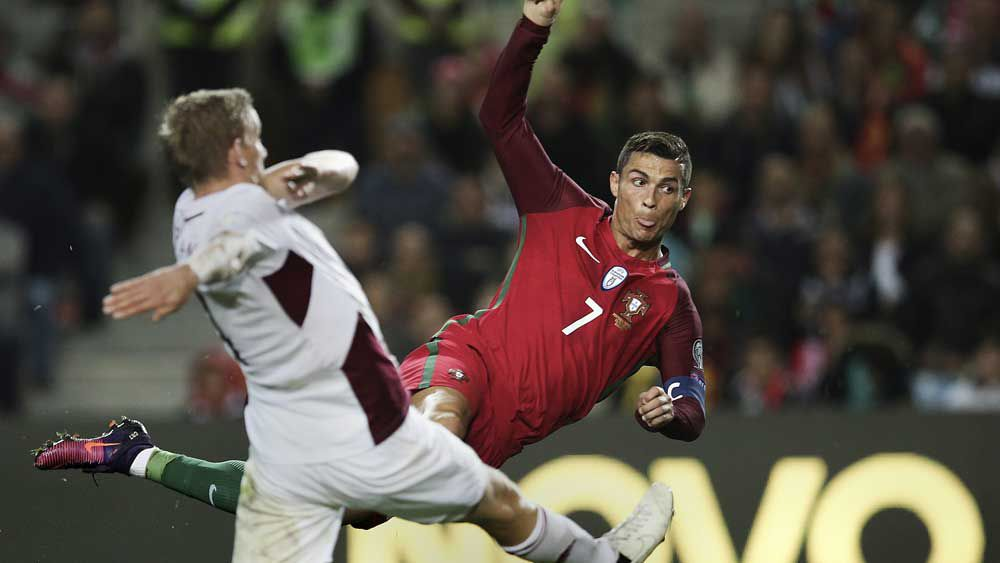 Cristiano Ronaldo scored twice against Latvia. (AAP)