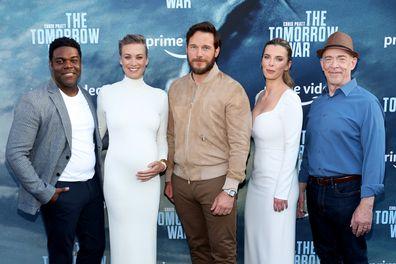 "Sam Richardson, Yvonne Strahovski, Chris Pratt, Betty Gilpin, and J.K. Simmons attend the premiere of Amazon's ""The Tomorrow War"" at Banc of California Stadium on June 30, 2021 in Los Angeles, California."