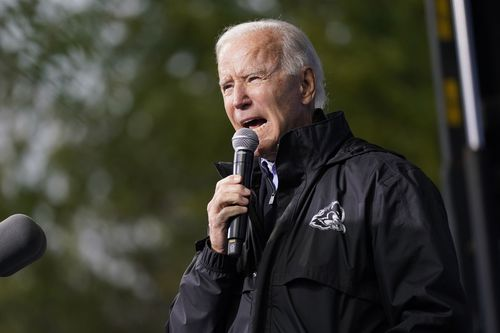 """Democratic presidential candidate former Vice President Joe Biden speaks at a """"Souls to the Polls"""" drive-in rally at Sharon Baptist Church, in Philadelphia"""