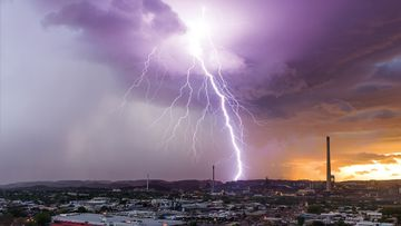 Lightning strike over Mount Isa mines, Queensland. (Bureau of Meteorology)