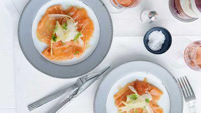"Recipe:<a href=""http://kitchen.nine.com.au/2016/05/16/19/19/salmon-carpaccio-with-citrus-ponzu-dressing"" target=""_top"">Salmon carpaccio with citrus ponzu dressing</a>"