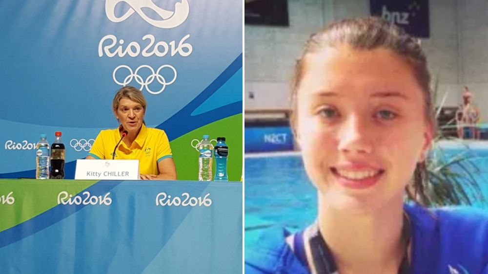 Kitty Chiller announcing O'Brien's selection (left), and Brittany O'Brien (right). (Australian Olympic Committee)