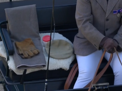 Prince Philip's carriage driving cap, whip and gloves during his funeral