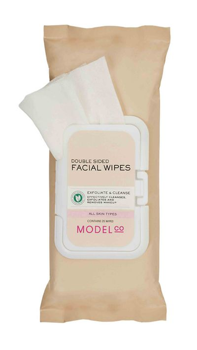 "<a href=""http://www.modelcocosmetics.com/shop/double-sided-facial-wipes"" target=""_blank"">Double Sided Facial Wipes, $8, ModelCo</a>"