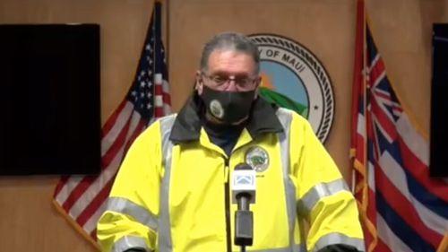 Mayor of Maui County Michael Victorino addresses the media.