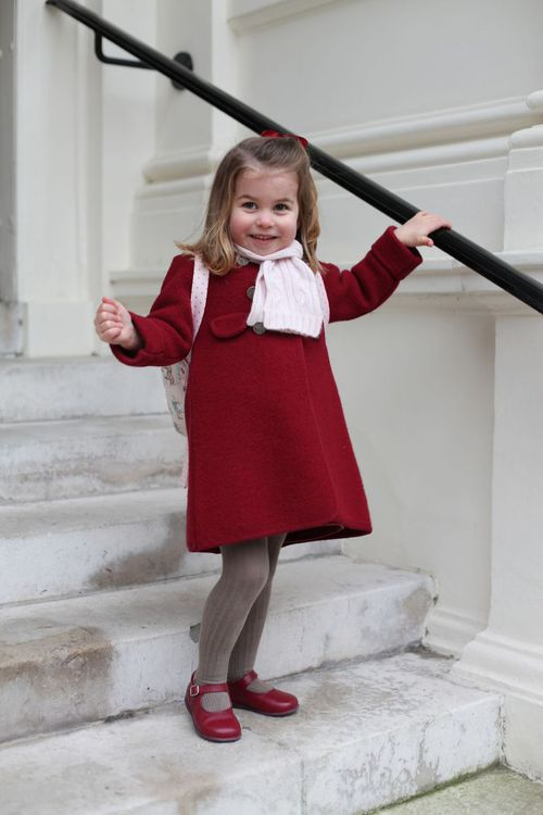 The Duchess of Cambridge snapped these candid pictures of her daughter Princess Charlotte on her first day of nursery school. (AAP)