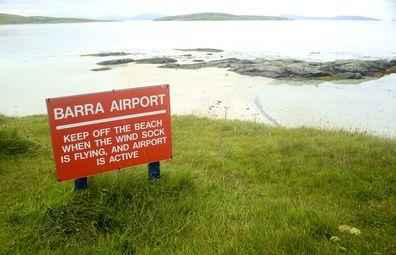 Barra Airport sign.