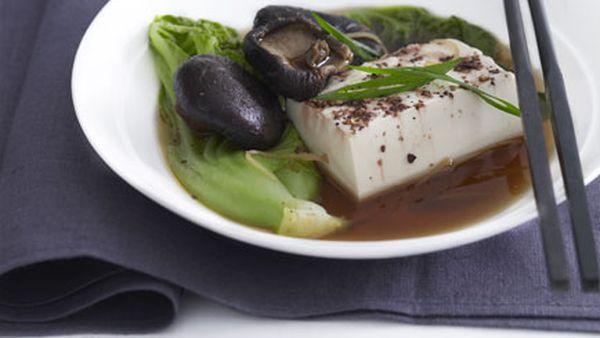 Steamed tofu, gai choy and shiitake mushrooms