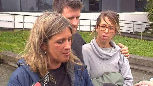 Sean McKinnon's siblings speak with the media outside New Zealand court.