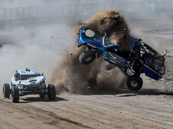 Monster crash shakes off-road racers