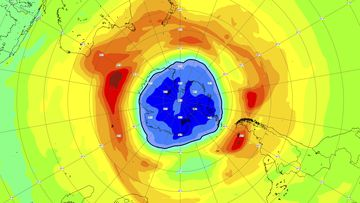 This image, provided on Thursday, Sept. 16, 2021 by the European Space Agency (ESA) shows a map of the ozone hole over the South Pole on 16 September 2021. Scientists say the Southern Hemisphere ozone hole is larger than usual and already surpasses the size of Antarctica. (AP Photo/European Space Agency, ESA)