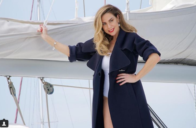 """Kate Ritchie in <a href=""""http://milearesort.com/"""" target=""""_blank"""">Milea</a> one-piece and <a href=""""https://www.ferragamo.com/shop/en/aus"""" target=""""_blank"""">Ferragamo</a> trench for Facon Magazine"""