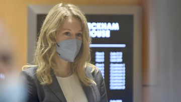 Elizabeth Holmes walked into the federal courthouse for her trial in San Jose, California.