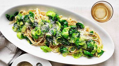 "<a href=""http://kitchen.nine.com.au/2016/05/16/16/00/fettuccine-with-brussels-sprouts-pecorino-and-garlic"" target=""_top"">Fettuccine with Brussels sprouts, pecorino and garlic</a><br /> <br /> <a href=""http://kitchen.nine.com.au/2016/06/06/21/15/easy-ways-to-eat-more-greens/"" target=""_top"">More easy ways to eat more greens</a>"