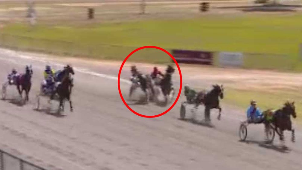 Trot driver finishes race in rival's sulky