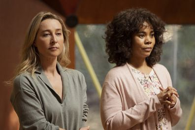 Nine Perfect Strangers -- Random Acts of Mayhem - Episode 101 -- Promised total transformation, nine very different people arrive at Tranquillum House, a secluded retreat run by the mysterious wellness guru Masha. Heather (Asher Keddie) and Carmel (Regina Hall), shown.