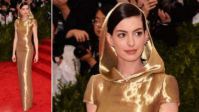 Actress Anne Hathaway wore a Ralph Lauren Collection custom gold lamé cap sleeve column evening dress. May the fourth be with you, Anne. (AAP)