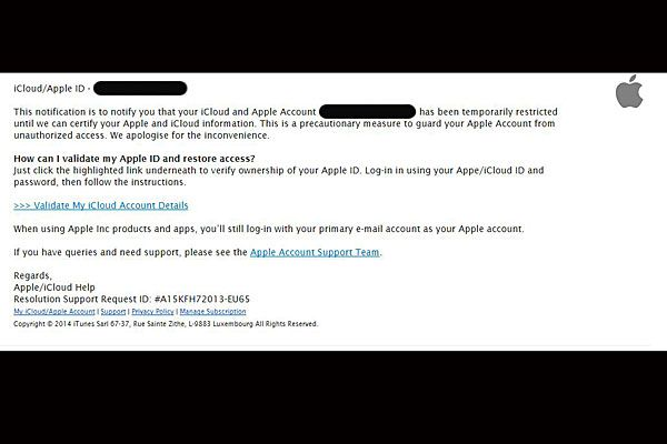 """Apple's """"Service Warning"""" email."""