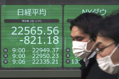 Men walk past an electronic stock board showing Japan's Nikkei 225 index at a securities firm in Tokyo.