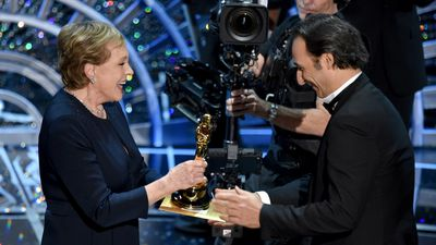 <b>Best Achievement in Music Written for Motion Pictures, Original Score:</b><br><br>Julie Andrews presents Alexandre Desplat for his work on 'The Grand Budapest Hotel'. (AAP)