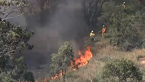 Firefighters are tackling a blaze near Ruse and Campbelltown this afternoon.