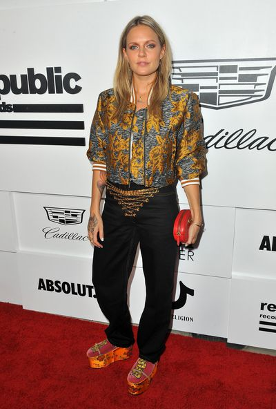 Tove Lo in Public School jacket, Y Project trousers and Gucci shoes at the VMA after party hosted by Republic Records