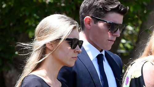 Brier Neill and cricketer Sean Abbott arrive at Phillip Hughes' funeral in Macksville. (AAP)