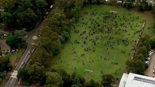 Castle Hill High School students have been evacuated onto the oval.