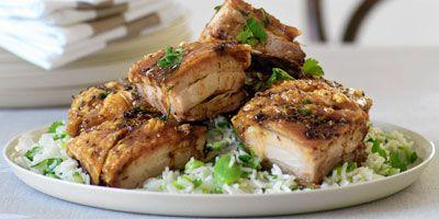 Crisp pork belly & lemon rice with broadbeans